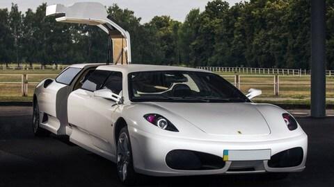 """Ferrari F430 limousine """"taroccata"""", la base è una Peugeot 406"""