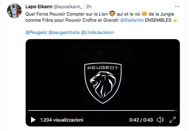 """Lapo Elkann su Peugeot: """"La forza del leone, fratello di Stellantis"""""""